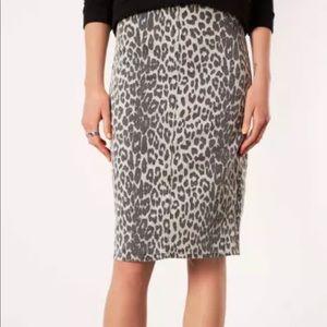 TOPSHOP MOTO Denim Leopard Print Midi Skirt